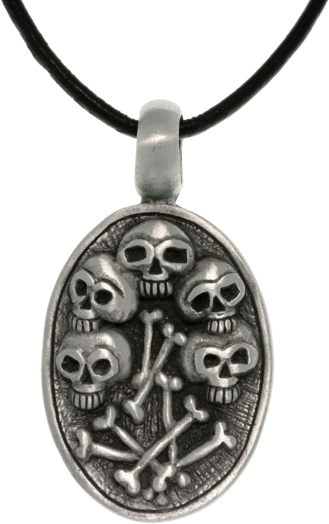 Jewelry Trends Pewter Skulls and Bones Unisex Pendant on 18 Inch Black Leather Cord Necklace