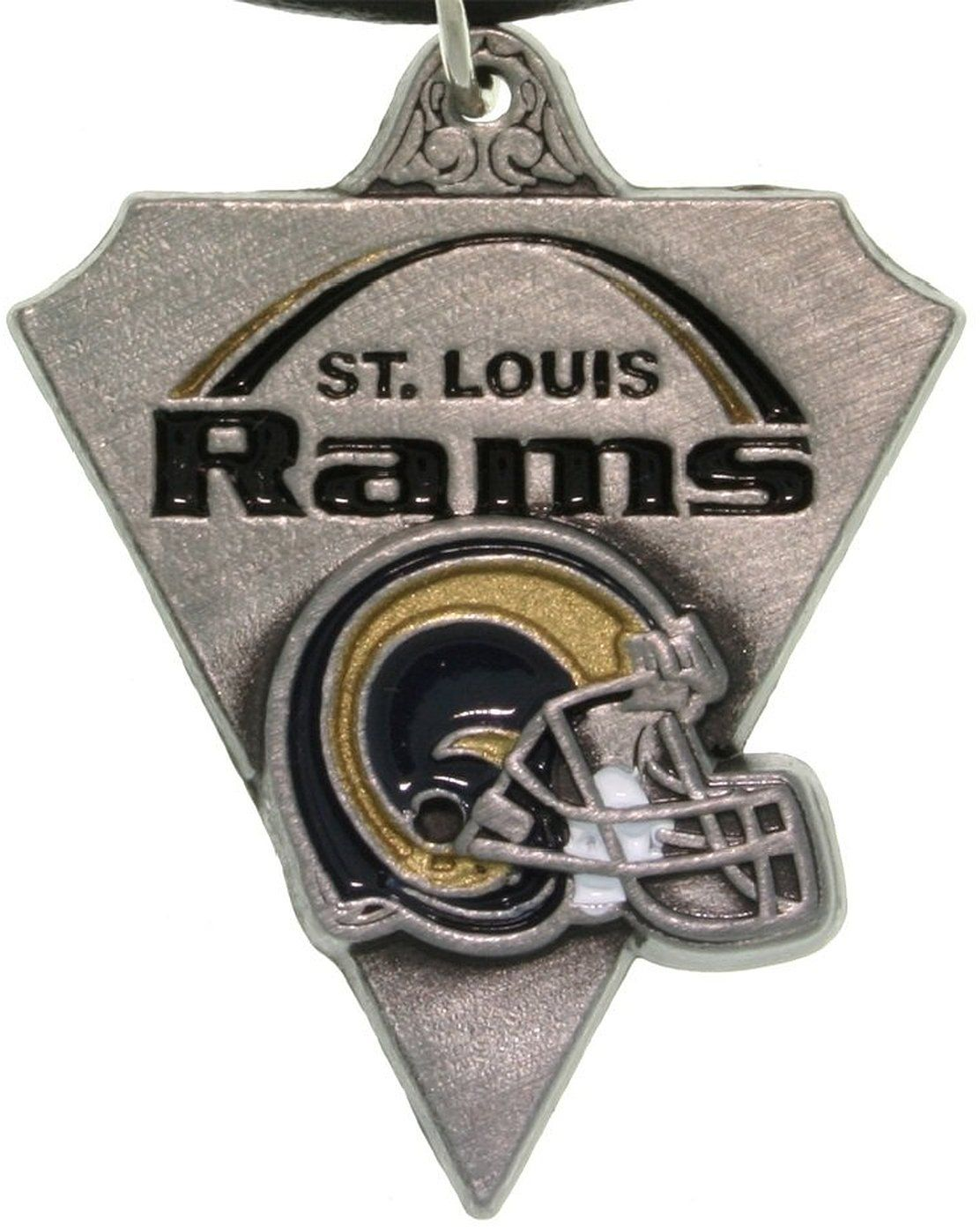 Jewelry Trends Pewter St. Louis Rams NFL Pennant Pendant on Black Leather Necklace