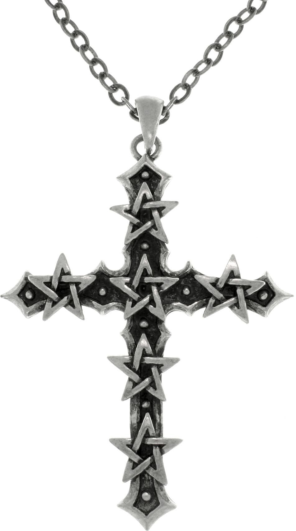Jewelry Trends Pewter Star Studded Cross Pendant on Link Chain Necklace