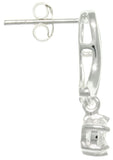 Jewelry Trends Sterling Silver Round-cut Cubic Zirconia Dangle Earrings