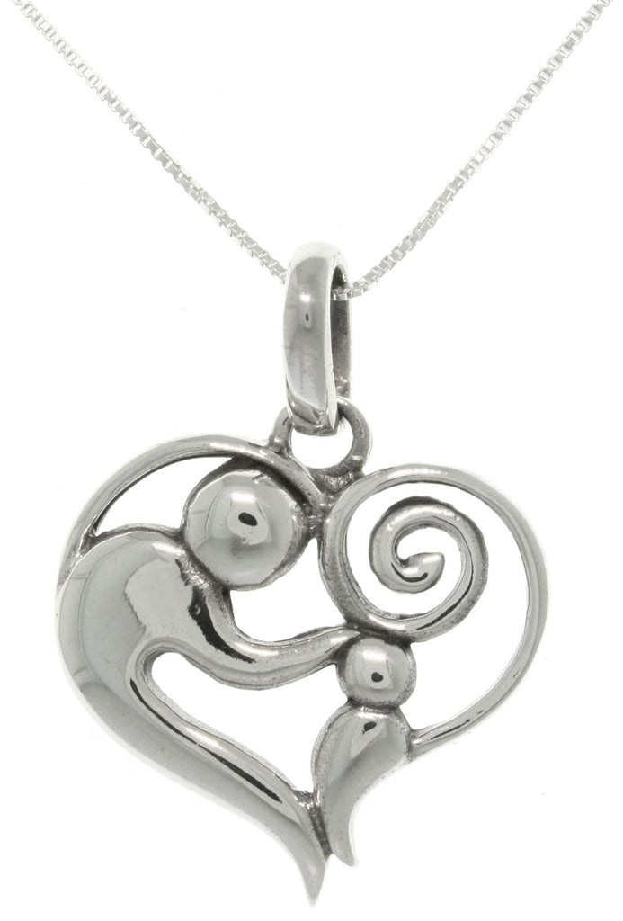 Jewelry Trends Sterling Silver Mother and Child Heart Pendant with Box Chain Necklace Mothers Day Gift