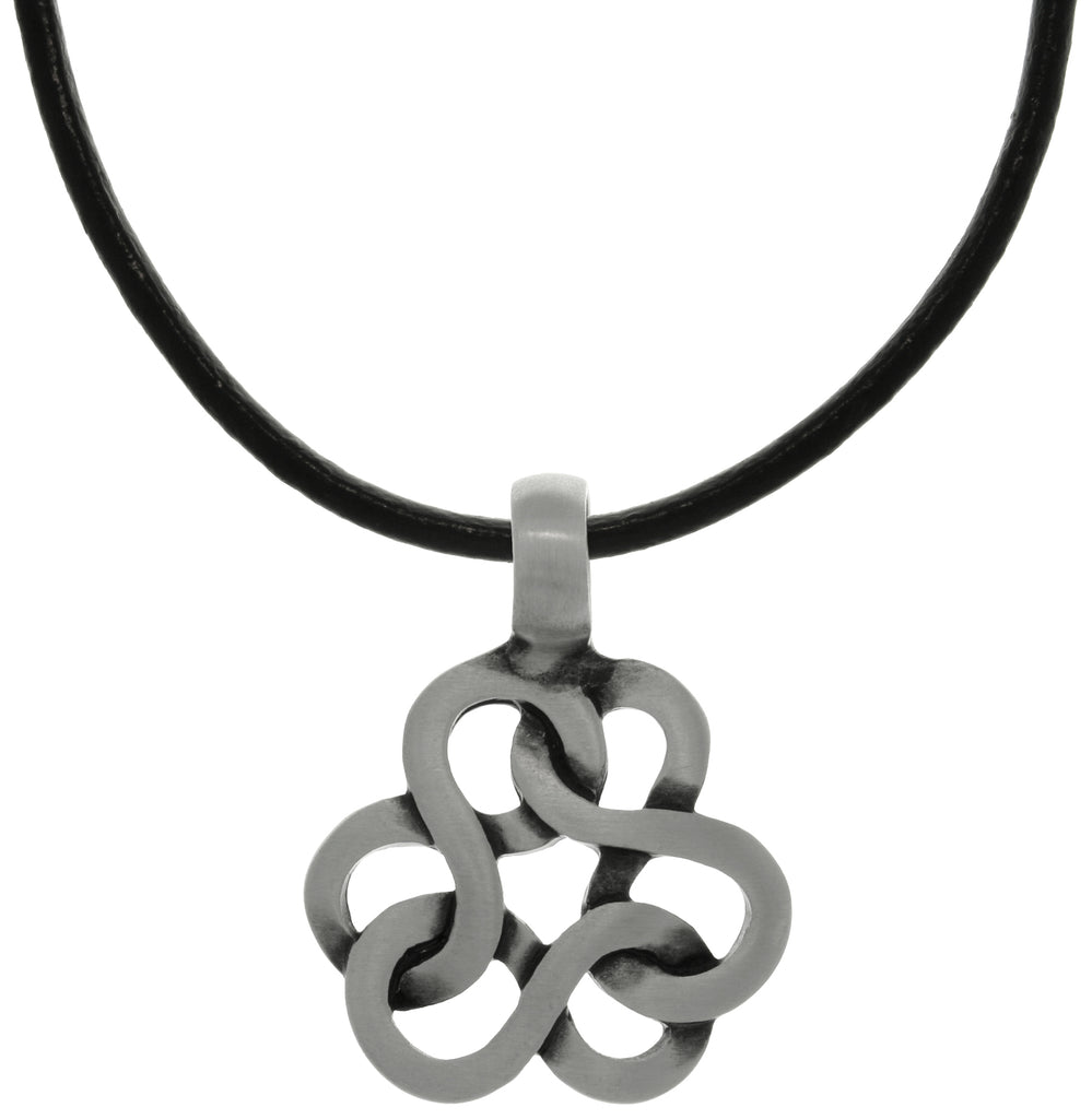 Jewelry Trends Pewter Celtic Infinity Knot Trinity Pendant on Black Leather Necklace
