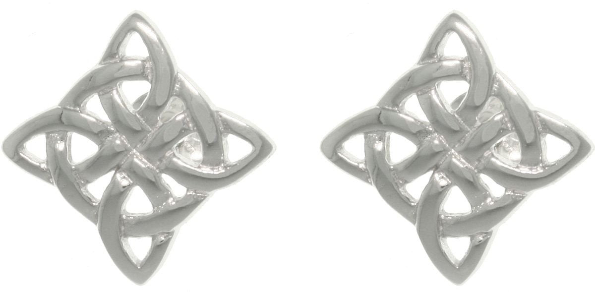 Jewelry Trends Sterling Silver Celtic Luck Knot Stud Post Earrings