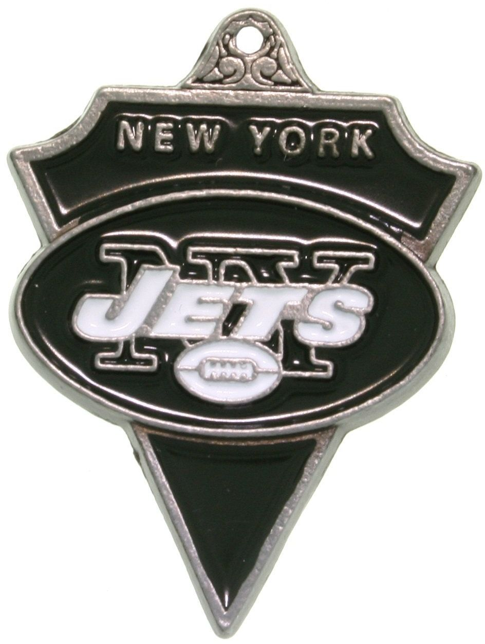 Jewelry Trends Pewter New York Jets NFL Pennant Pendant on Black Leather Necklace