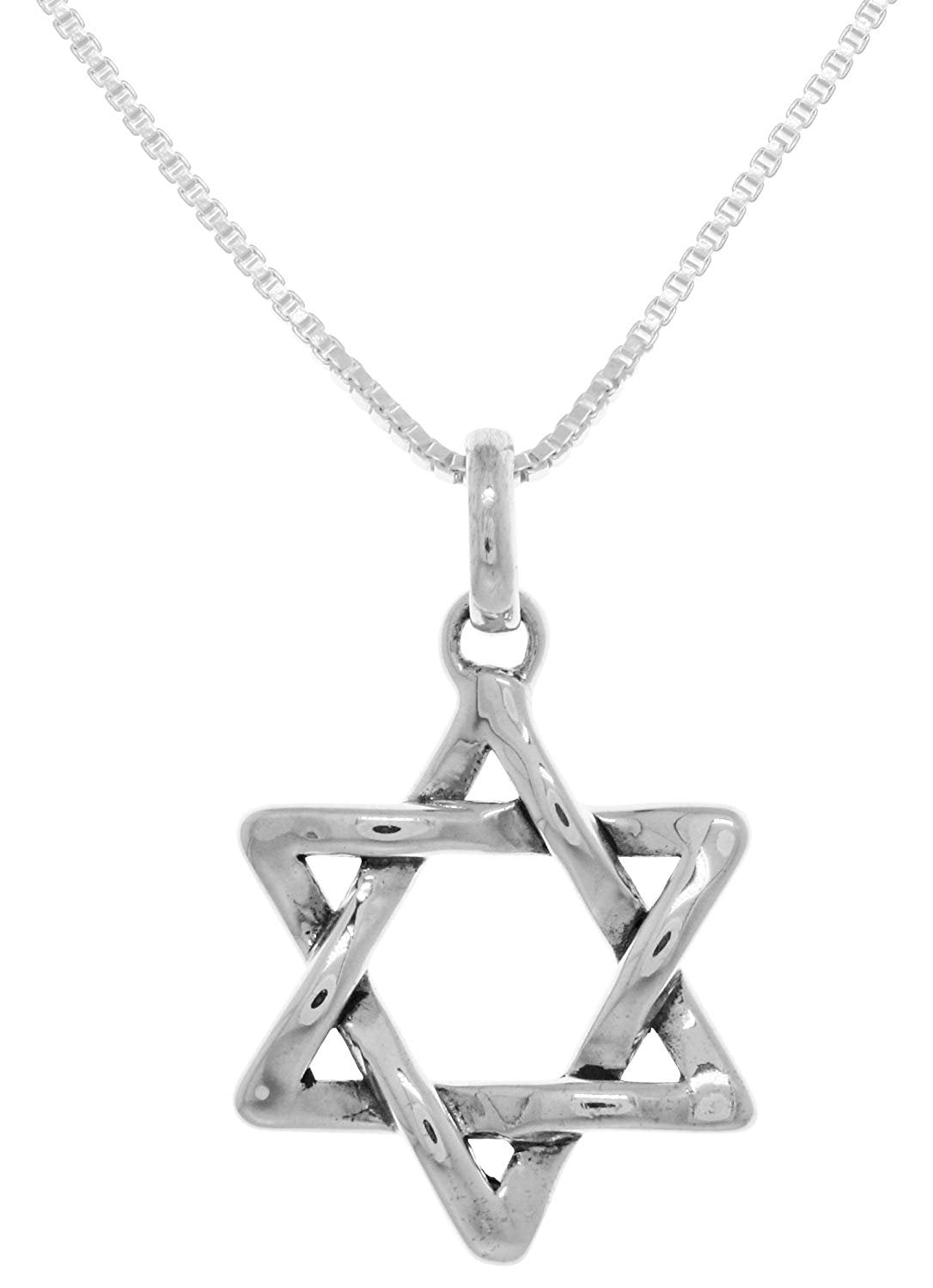 Jewelry Trends Star of David Weaved Sterling Silver Pendant Necklace