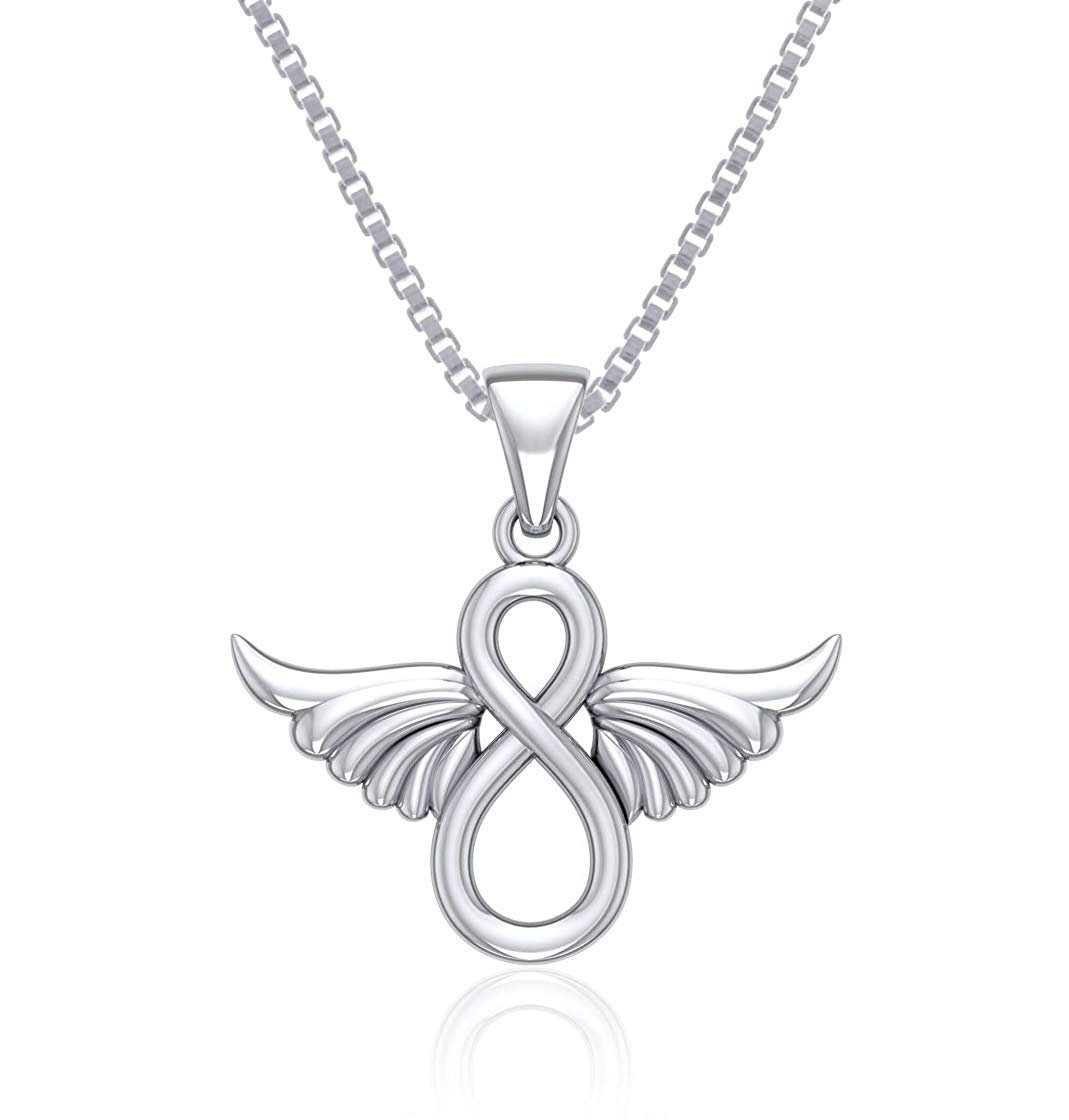 Jewelry Trends Trinity Knot Angel Wing Sterling Silver Pendant Necklace 18""