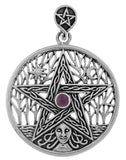 Jewelry Trends Sterling Silver Celtic Goddess Pentacle Pendant with Amethyst