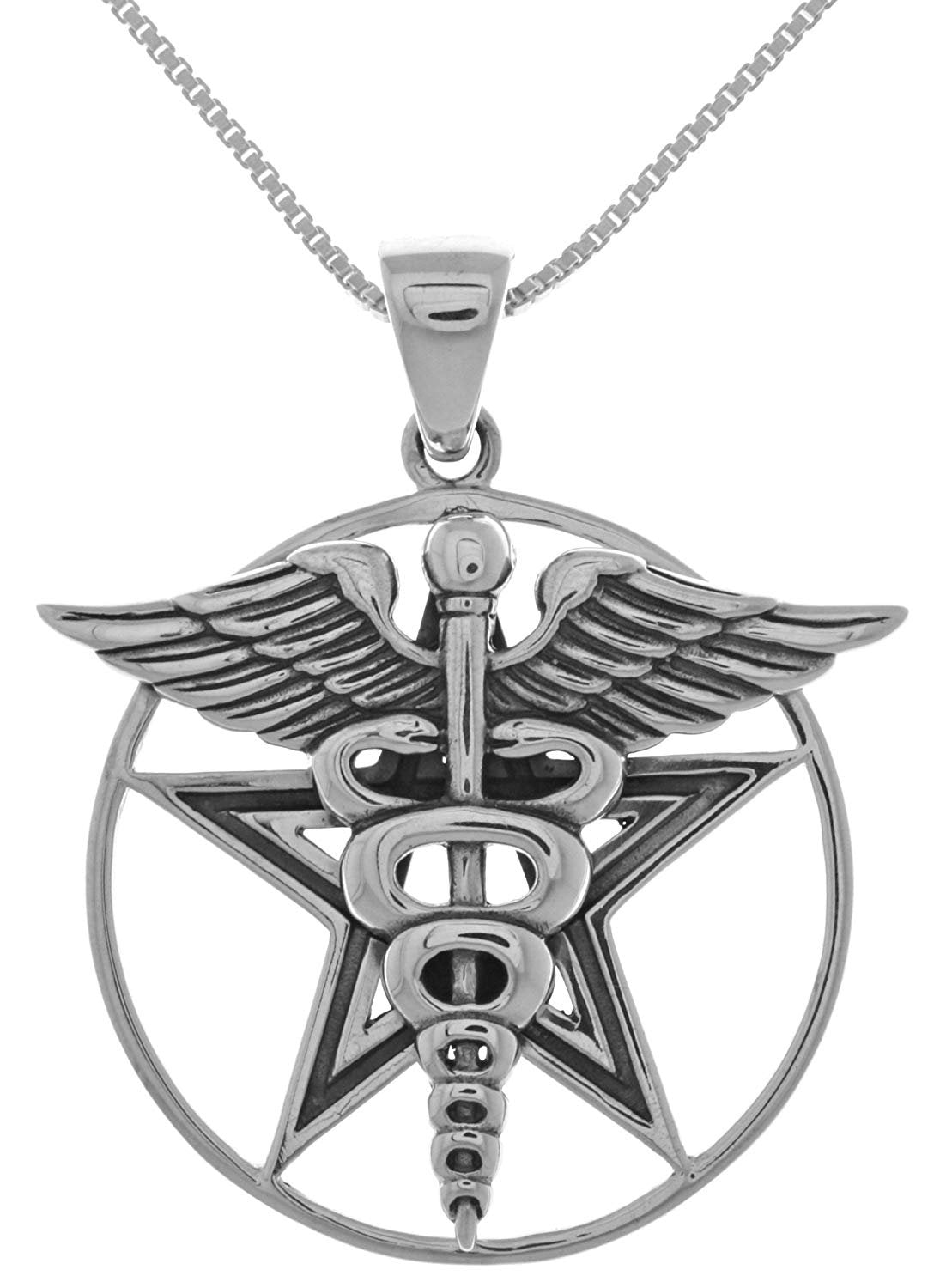Jewelry Trends Caduceus Star Pentagram Pentacle Sterling Silver Pendant Necklace 18""