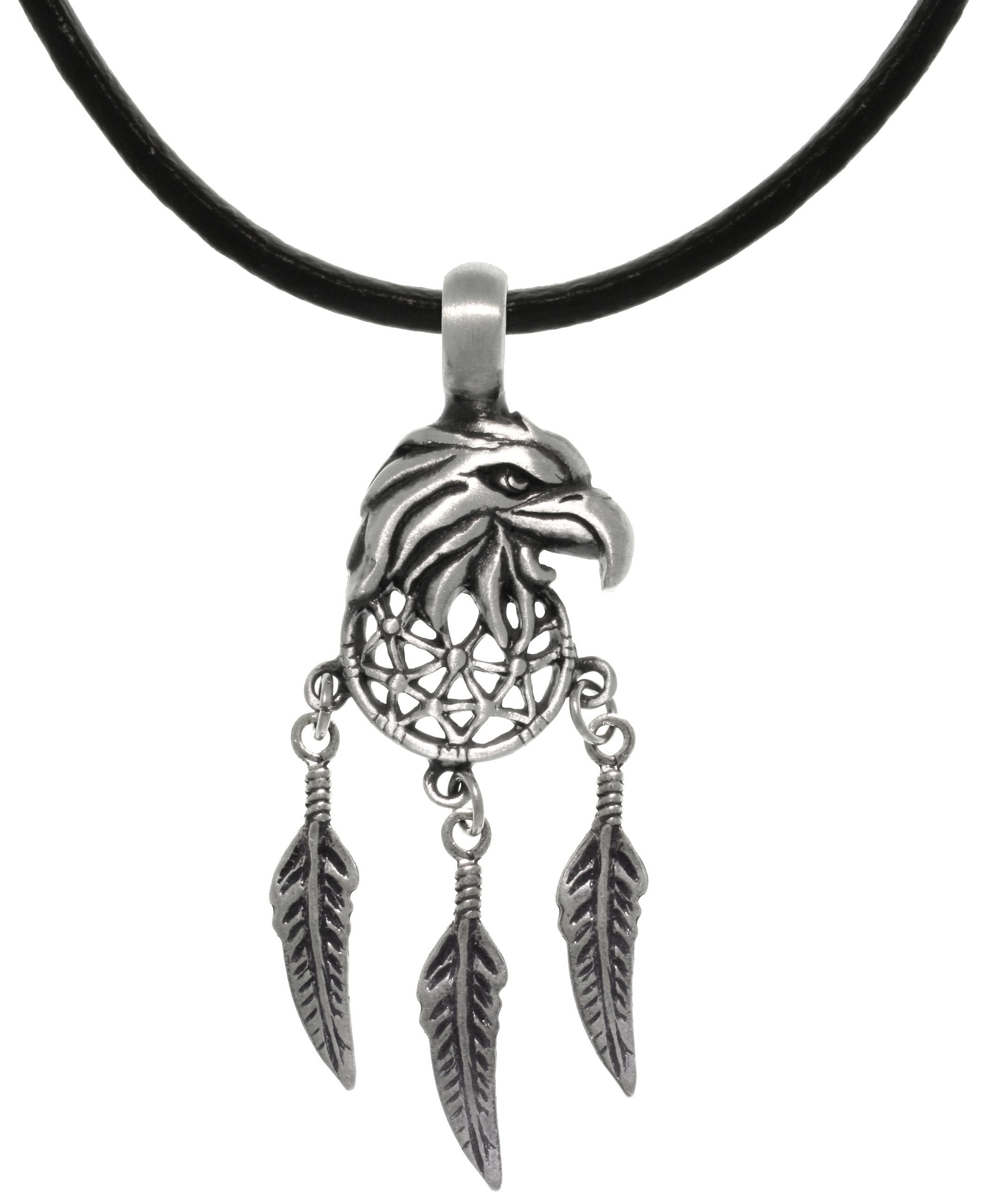 "Jewelry Trends Pewter American Eagle Mandala Feather Southwest Pendant Necklace 18"" Leather Cord"