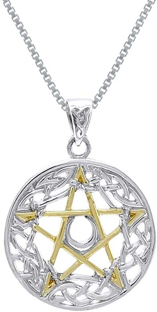 Jewelry Trends Celtic Pentacle Pentagram Goddess Sterling Silver Pendant Necklace 18""