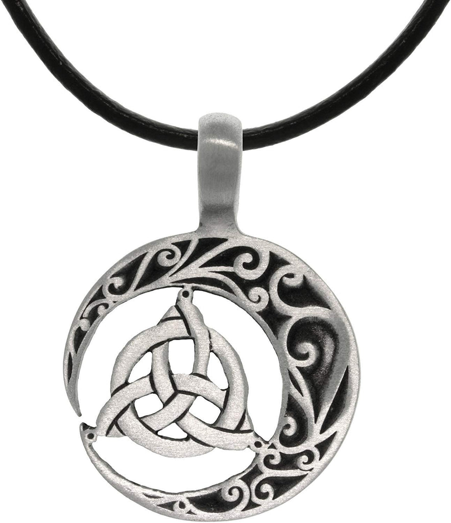 "Jewelry Trends Trinity Crescent Celtic Knot Pewter Pendant Necklace 18"" Leather Cord"