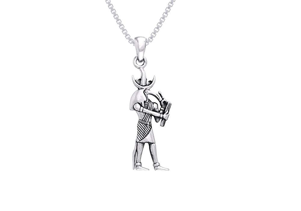 Jewelry Trends Egyptian Thoth God of Wisdom Sterling Silver Pendant Necklace 18""