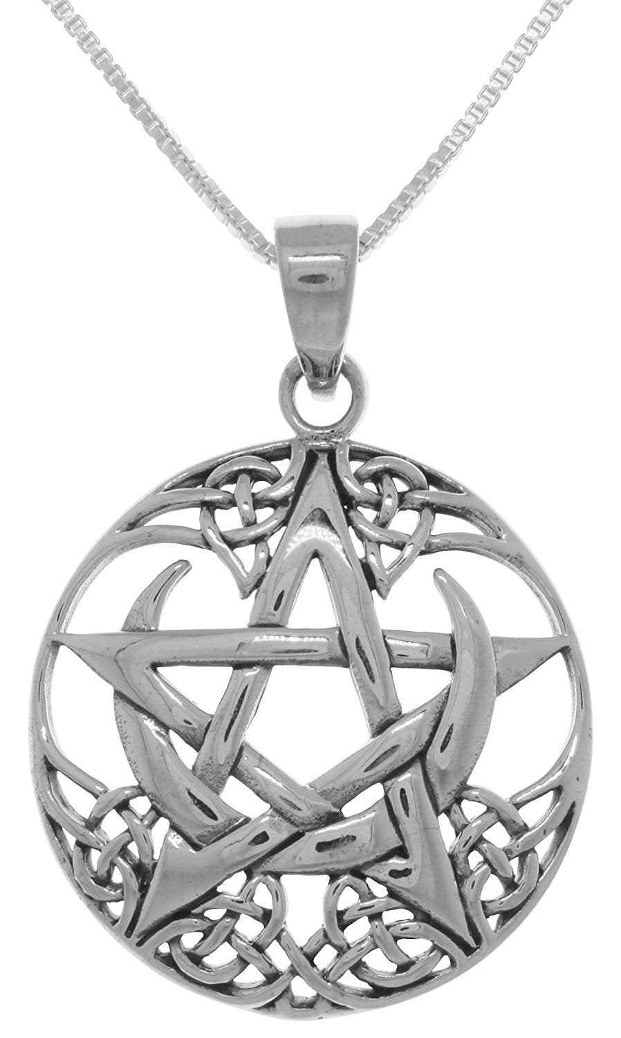 Jewelry Trends Sterling Silver Pentagram Moon Celtic Pendant Necklace 18""