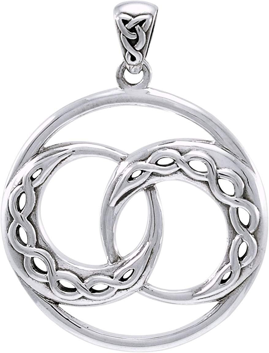 Jewelry Trends Sterling Silver Double Celtic Infinity Knot Crescent Moon Pendant