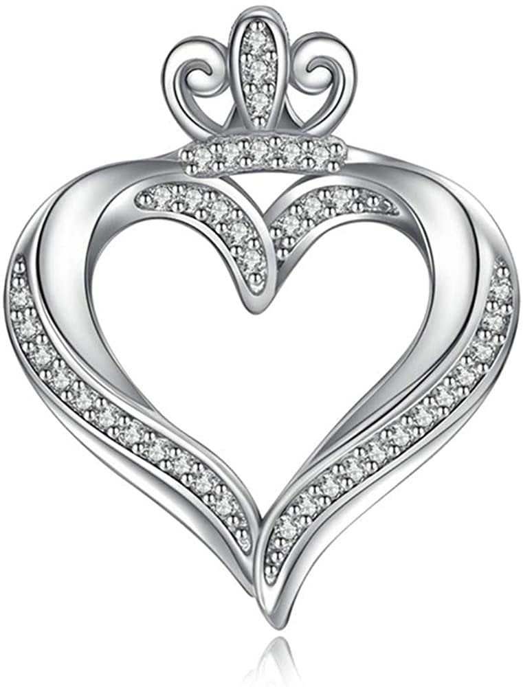 Jewelry Trends Crown Heart Pave CZ Sterling Silver Pendant Necklace 18""