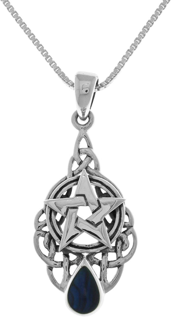 Jewelry Trends Sterling Silver Celtic Pentacle Star Pendant with Paua Shell on 18 Inch Chain Necklace