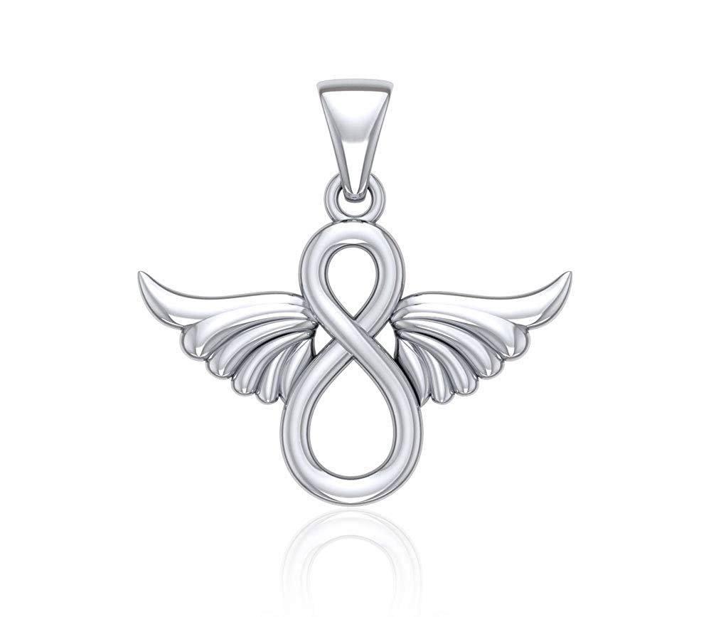 Jewelry Trends Infinity Knot Wing Angel Sterling Silver Pendant