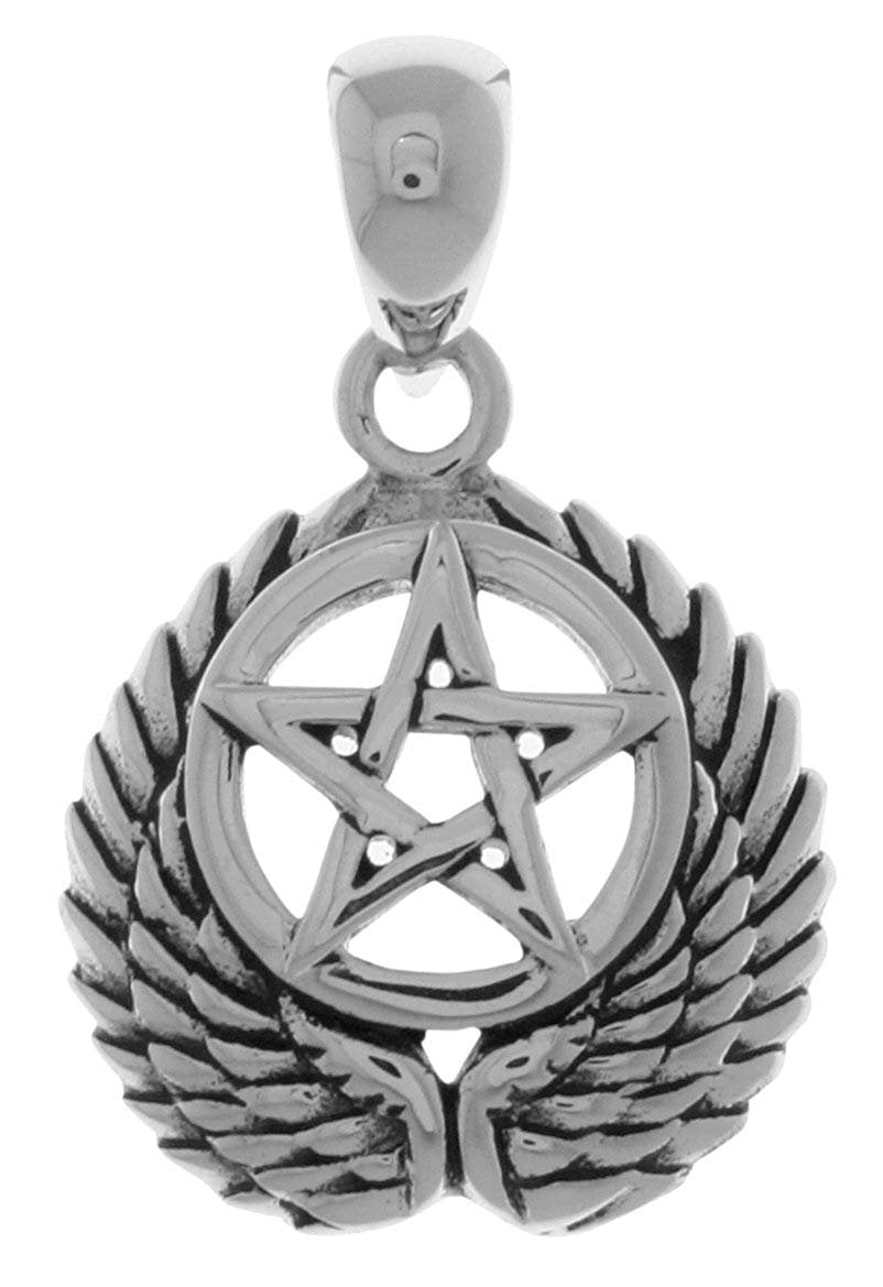 Jewelry Trends Sterling Silver Pentacle with Wings Pendant