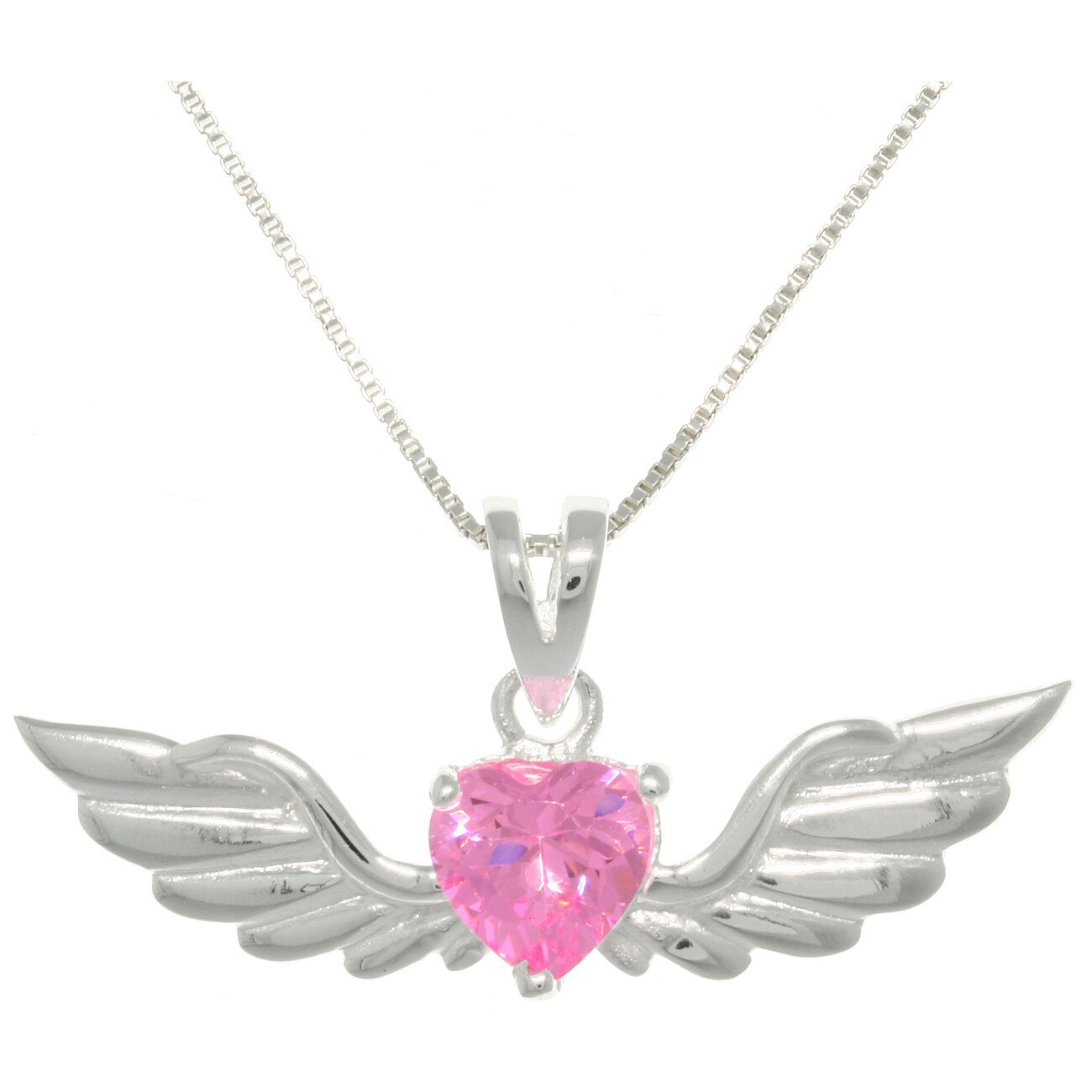 Jewelry Trends Sterling Silver Phoenix Angel Wings Heart Pendant with Pink CZ on Chain Necklace Valentines Gift