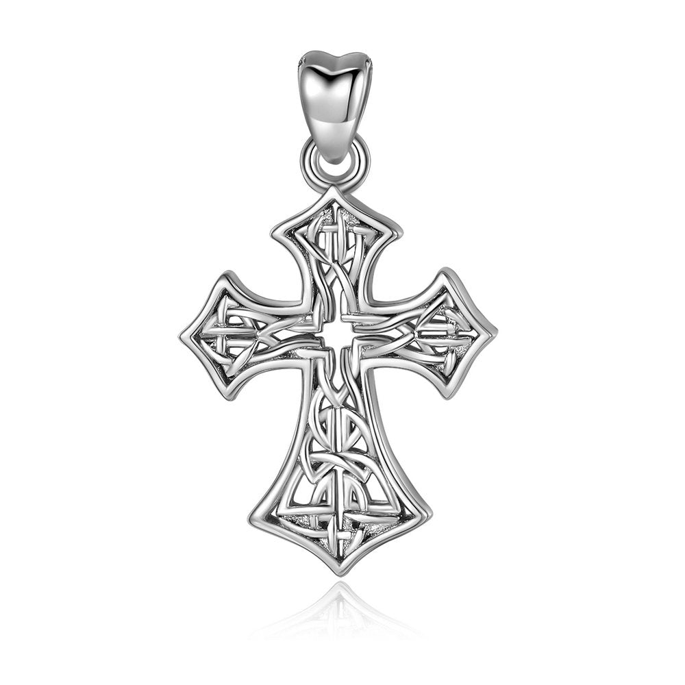 Jewelry Trends Celtic Cross Irish Weaved Open Knot Style Sterling Silver Pendant Necklace 18""