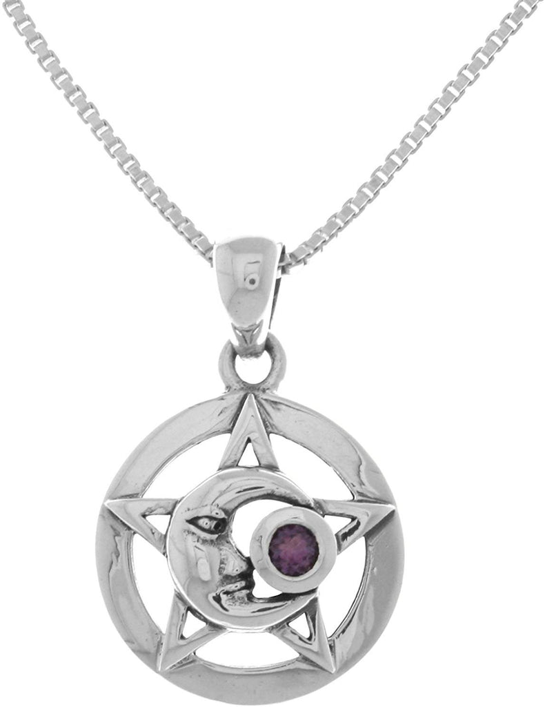 Jewelry Trends Sterling Silver Moon Star Pentacle Pendant with Amethyst on 18 Inch Box Chain Necklace