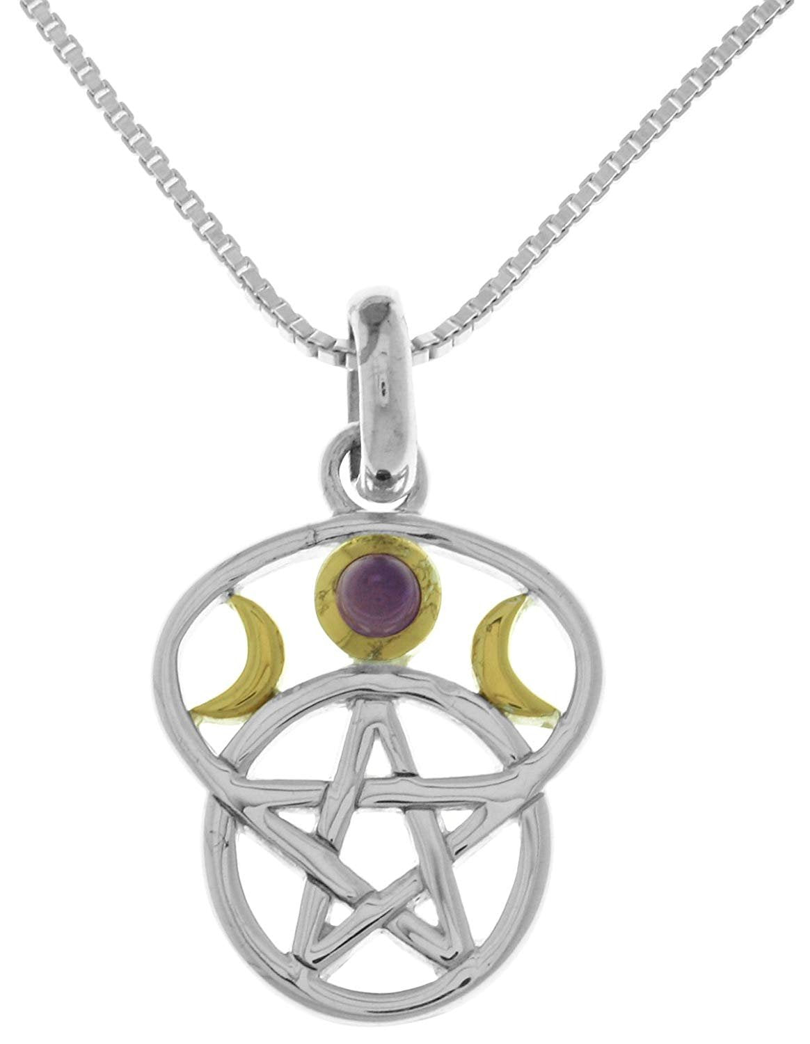 Jewelry Trends Sterling Silver Moon Goddess Pentacle Pendant with Amethyst on 18 Inch Box Chain Necklace