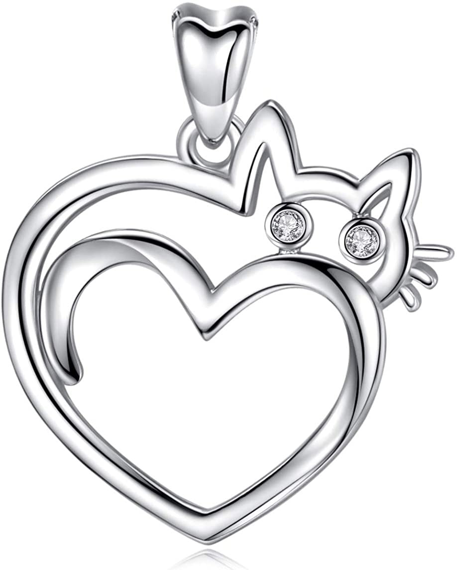Jewelry Trends Kitty Cat Heart CZ Sterling Silver Pendant Necklace 18""