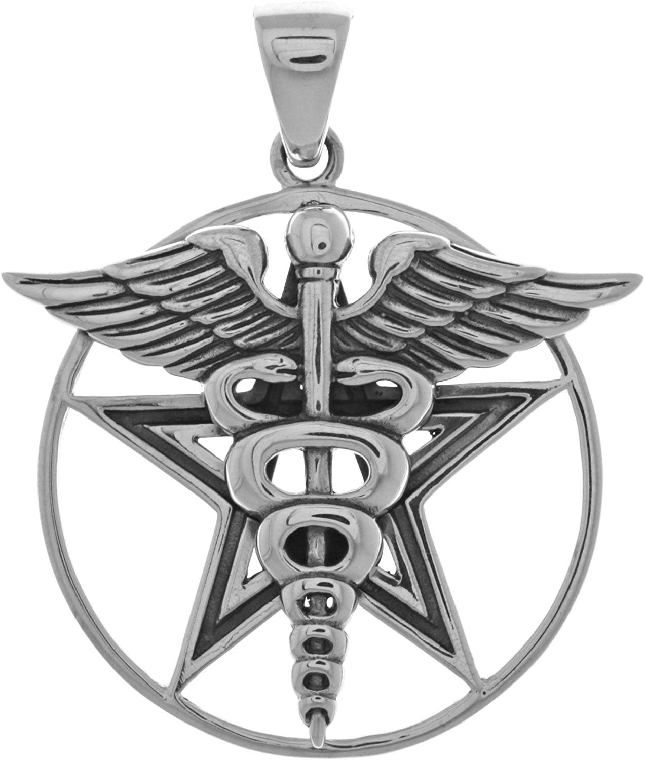 Jewelry Trends Caduceus Star Pentagram Pentacle Sterling Silver Pendant