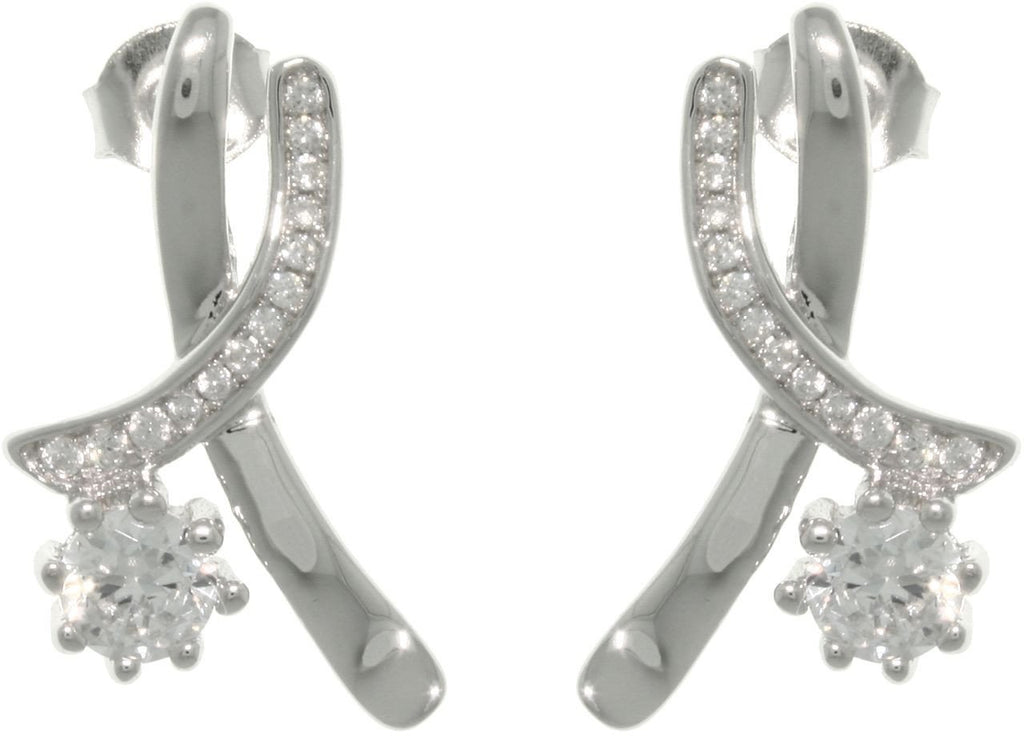 Jewelry Trends Sterling Silver Crossover Cubic Zirconia Stud Earrings