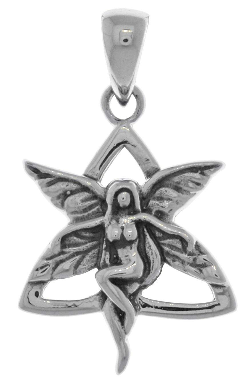 Jewelry Trends Sterling Silver Celtic Trinity Knot Fairy Pendant