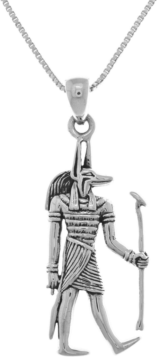 Jewelry Trends Anubis Egyptian God of The Underworld Sterling Silver Pendant on 18 Inch Chain Necklace