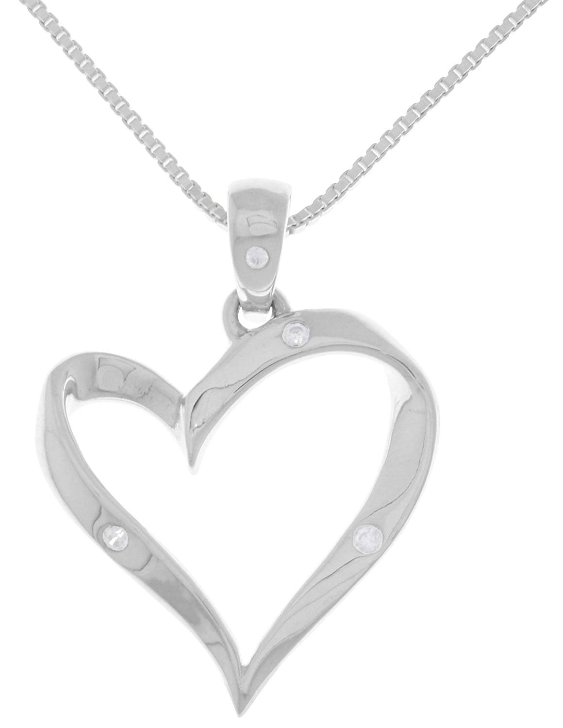 Jewelry Trends Sterling Silver Ribbon Heart Pendant with CZ on 18 Inch Box Chain Necklace