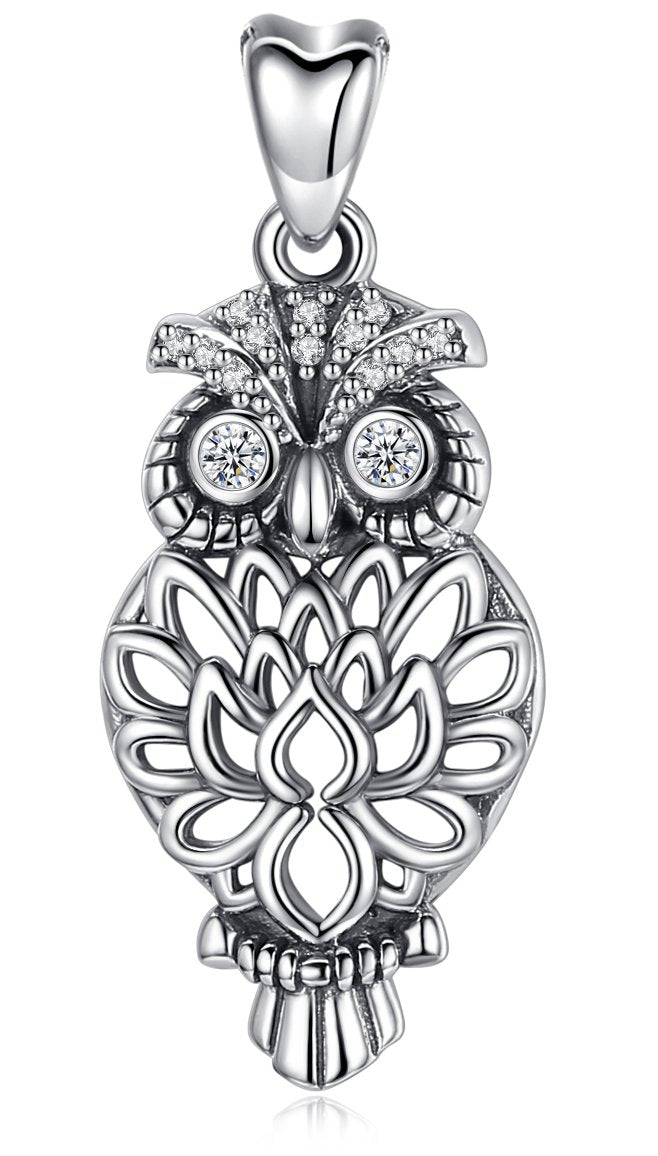 Jewelry Trends Owl Bird Animal Sterling Silver Pendant Necklace 18""