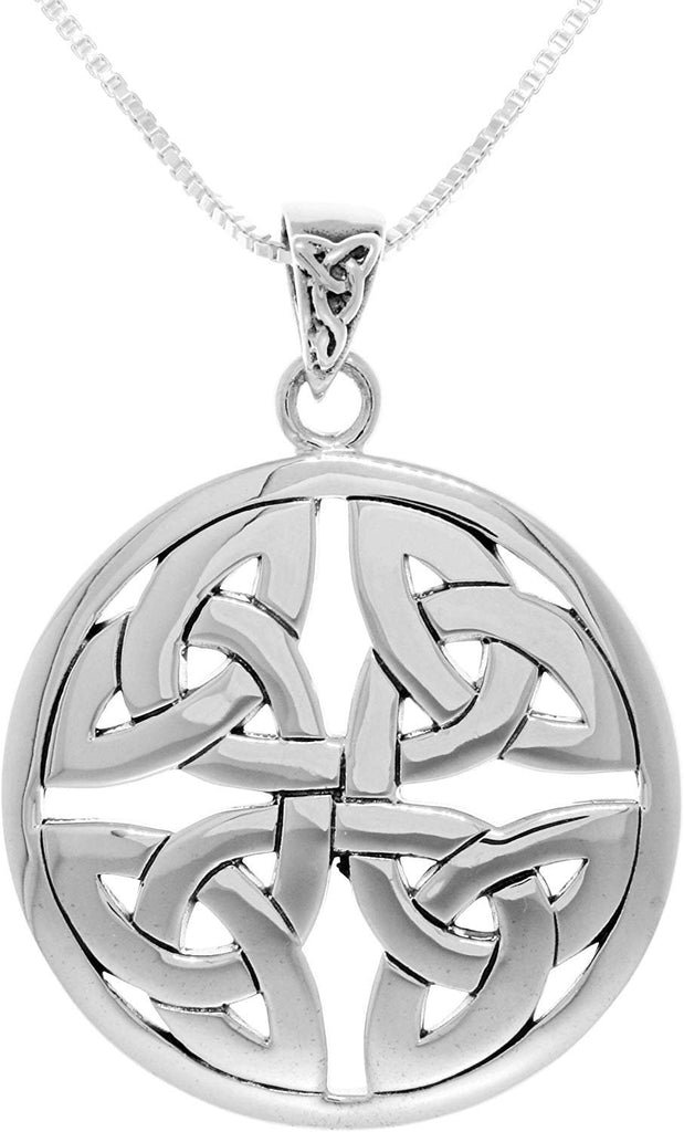 Jewelry Trends Sterling Silver Celtic Trinity Knot Medallion Pendant on 18 Inch Box Chain Necklace