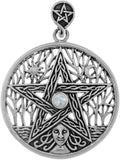 Jewelry Trends Sterling Silver Celtic Goddess Pentacle Pendant with Moonstone