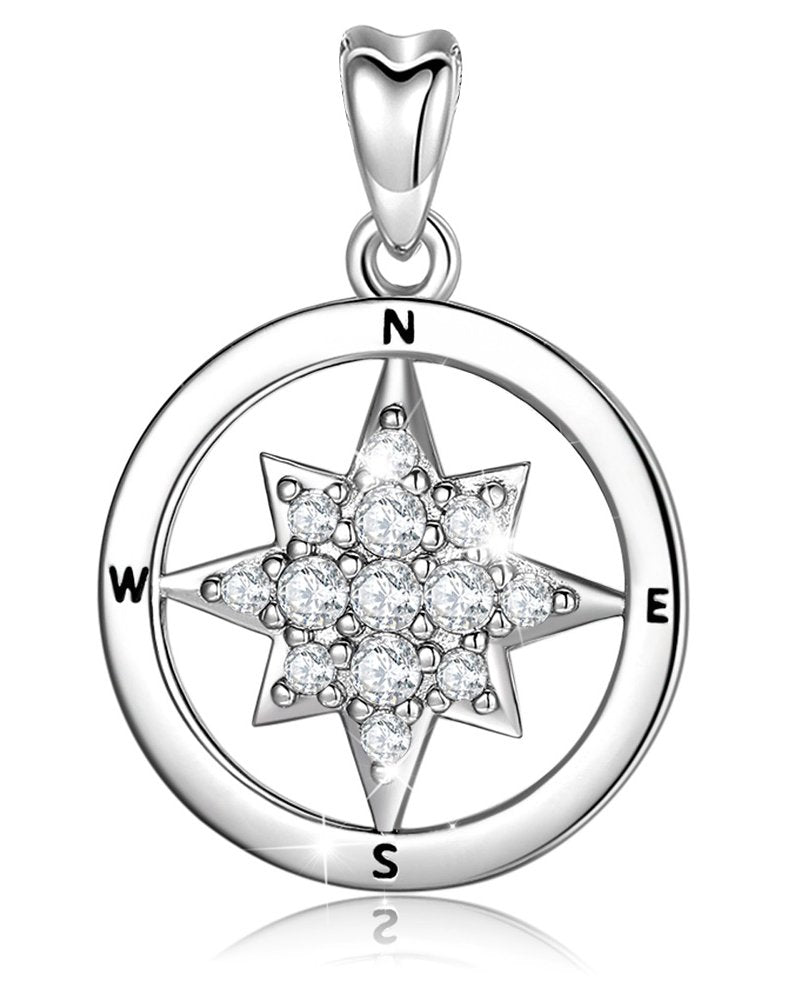 Jewelry Trends North Star CZ Journey Protection Sterling Silver Pendant Necklace 18""