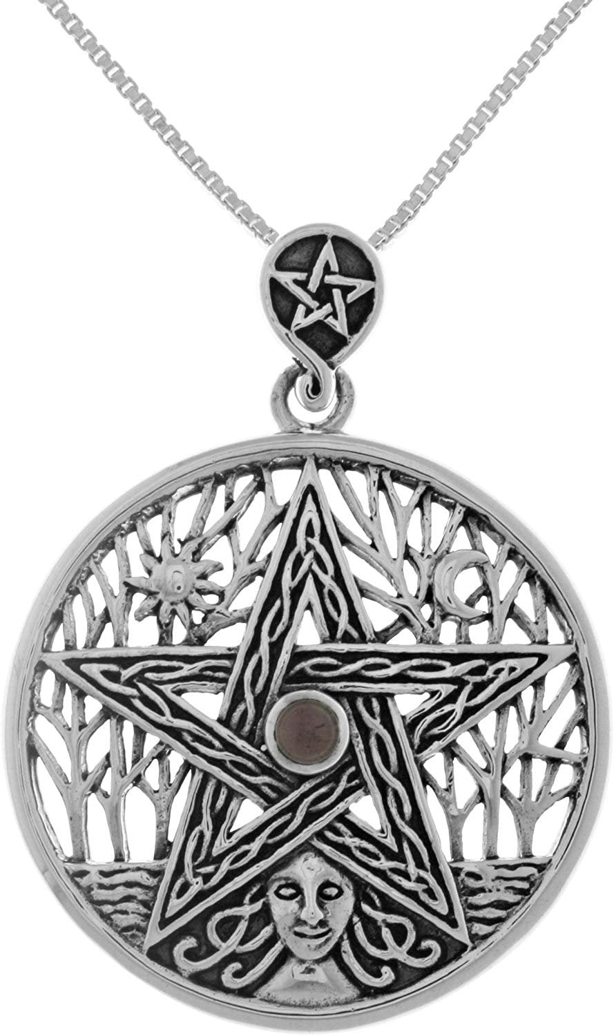 Jewelry Trends Sterling Silver Celtic Goddess Pentacle Pendant with Amethyst on Chain Necklace