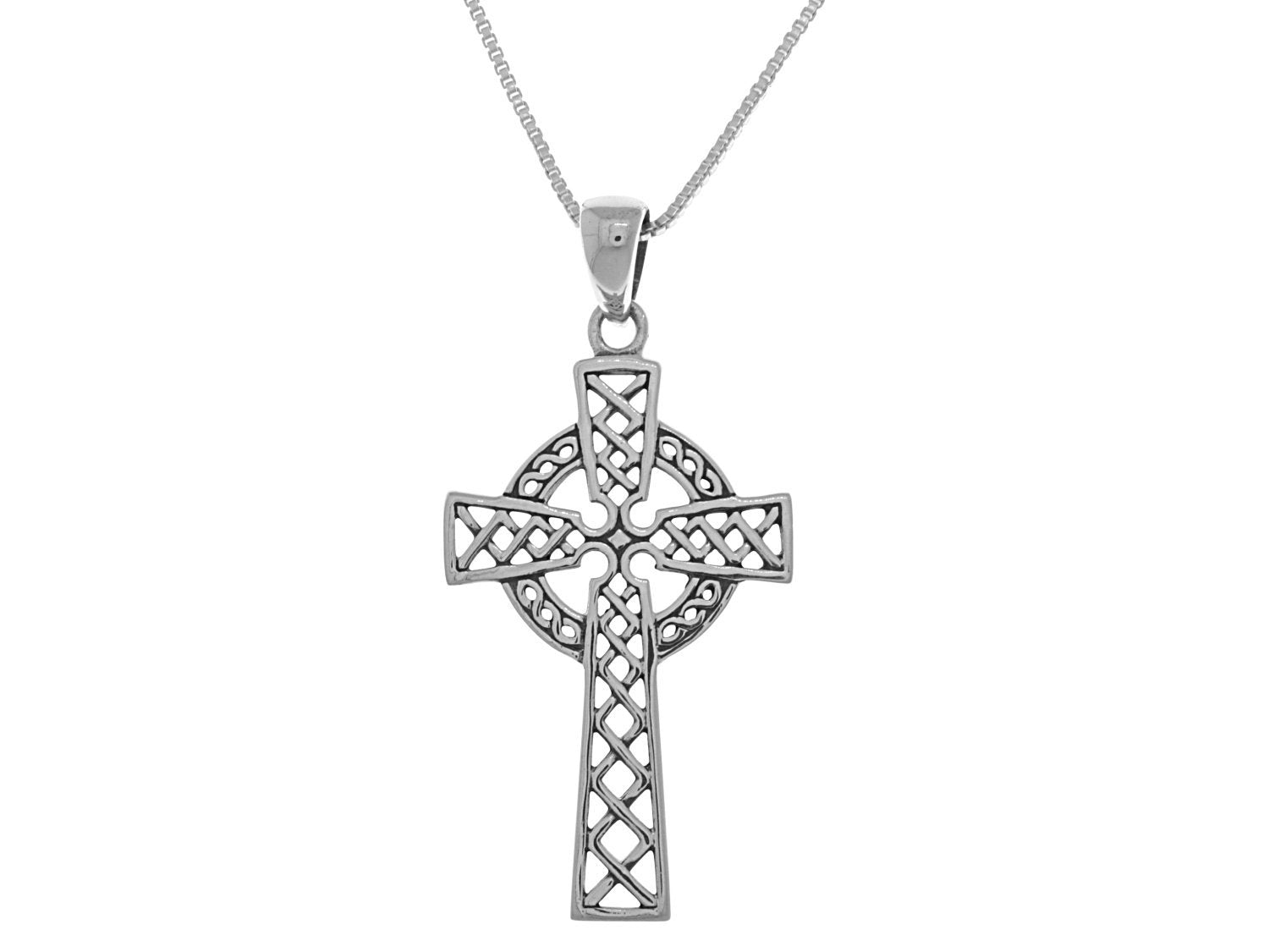 Jewelry Trends Irish Celtic Cross Religious Sterling Silver Pendant Necklace 18""