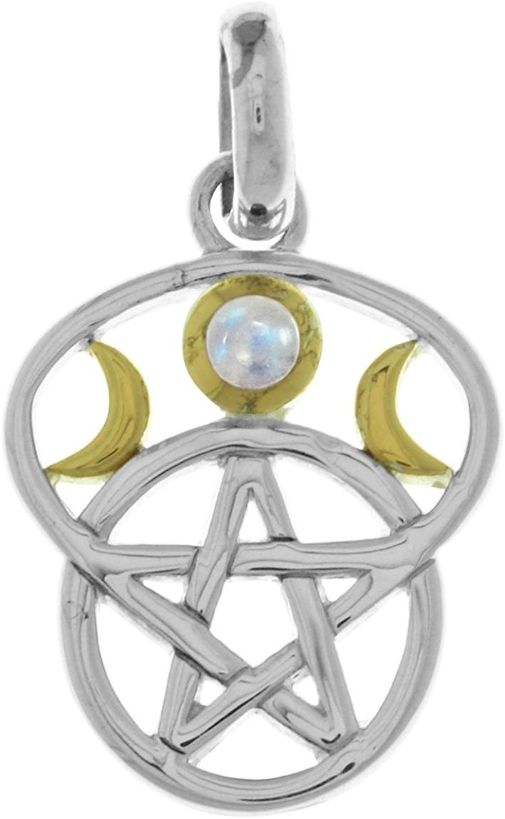 Jewelry Trends Sterling Silver Moon Goddess Pentacle Pendant with Rainbow Moonstone