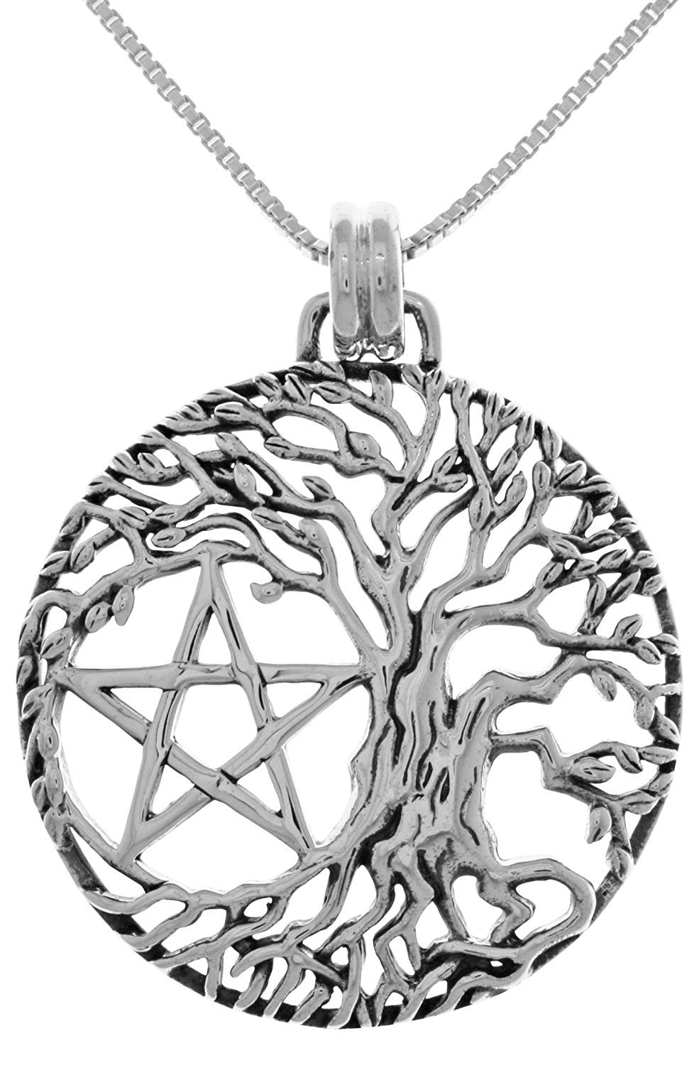 Jewelry Trends Pentacle Tree of Life Wiccan Sterling Silver Pendant Necklace 18""