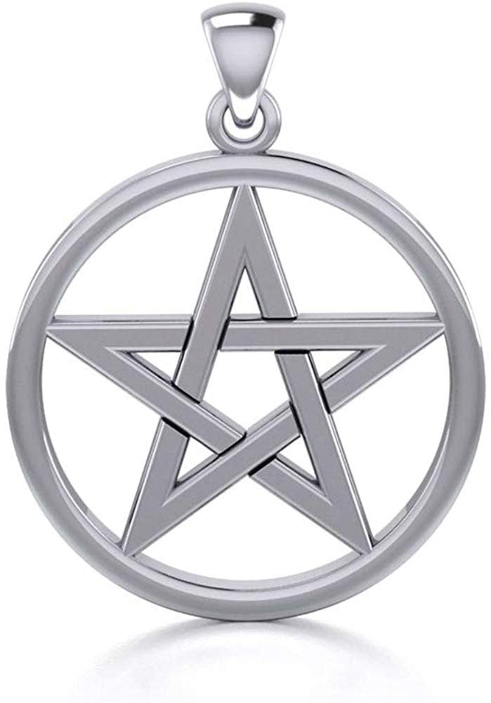 Jewelry Trends Pentacle Pentagram Star Sterling Silver Pendant Necklace 18""