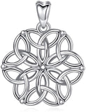 Jewelry Trends Celtic Trinity Knot Flower of Life Sterling Silver Pendant Necklace 18""
