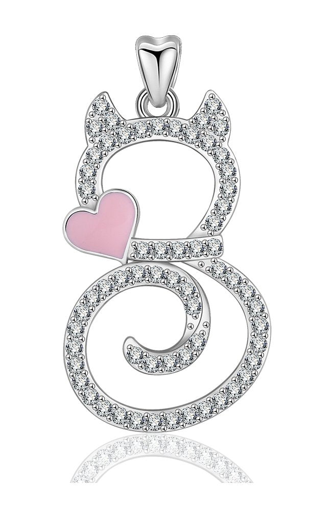 Jewelry Trends Kitty Cat CZ Swirl Sterling Silver Pendant Necklace 18""