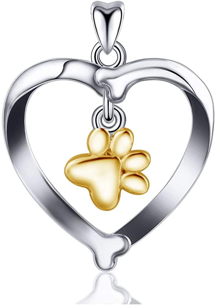 Jewelry Trends Dog Bone Heart with Dangle Paw Print Sterling Silver Pendant Necklace 18""