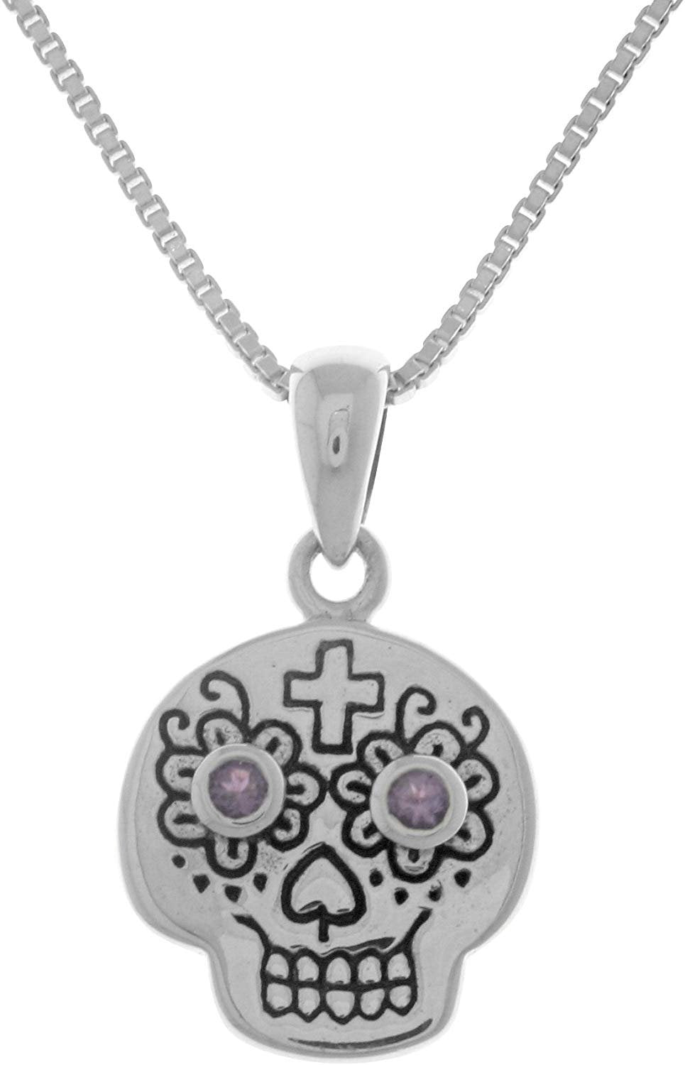 Jewelry Trends Sterling Silver Small Voodoo Skull Pendant with Amethyst on 18 Inch Box Chain Necklace