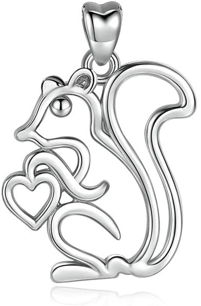 Jewelry Trends Squirrel Love Nut Animal Sterling Silver Pendant Necklace 18""