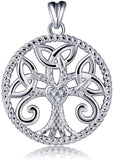 Jewelry Trends Tree Of Life Trinity Knot CZ Heart Sterling Silver Pendant Necklace 18""