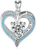 Jewelry Trends Heart Hidden Message Love You CZ Sterling Silver Pendant Necklace 18""