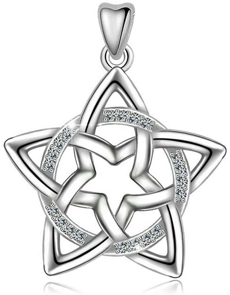 Jewelry Trends CZ Sterling Silver Pendant Necklace 18""