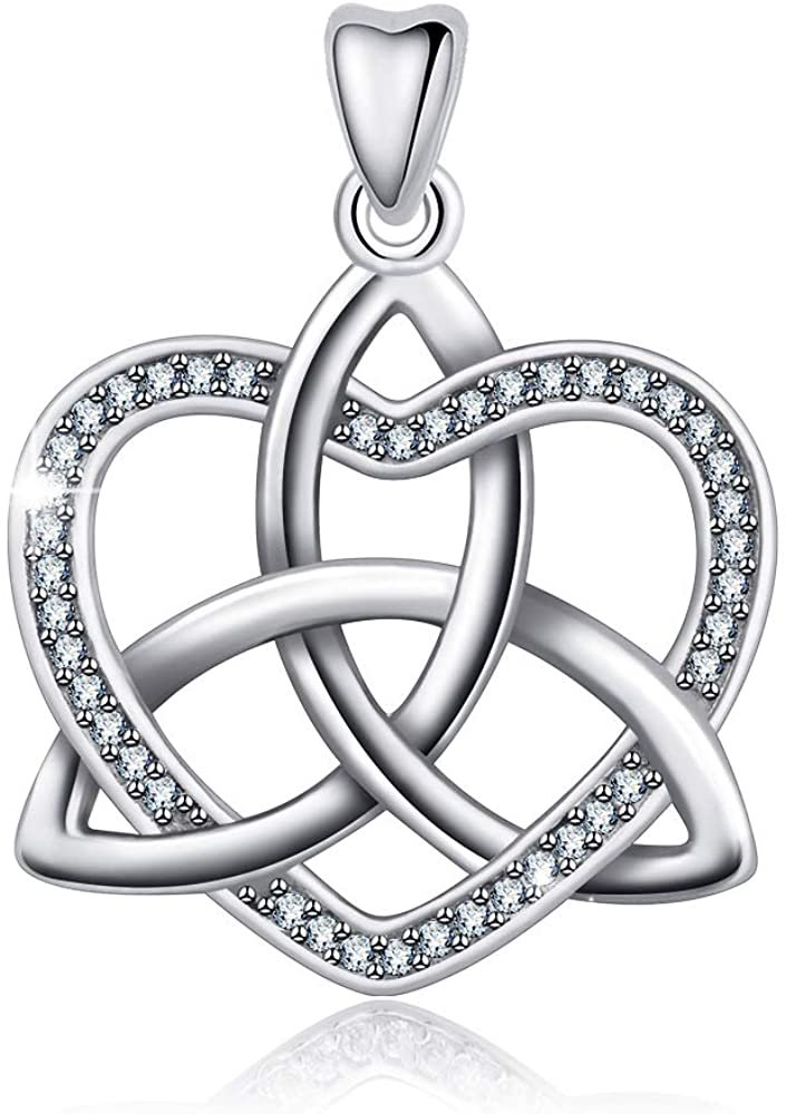 Jewelry Trends Celtic Trinity CZ Heart Sterling Silver Pendant Necklace 18""